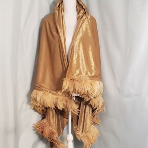 Gold Velvet/Velour Shawl with Feather Trim